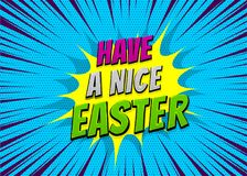 Happy Easter comic text pop art vintage poster. Happy Easter holiday comic text pop art advertise. Retro speed explosion line comics book phrase. Vector colored Royalty Free Stock Image