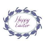 Happy Easter composition with blue rabbits, oval frame and text with white background stock illustration