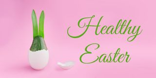 Happy Easter composition card concept with space for text stock photo