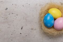 Happy Easter concept background.Easter eggs on table. Holiday background royalty free stock photos
