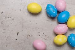 Happy Easter concept background.Easter eggs on table stock photography