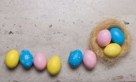 Happy Easter concept. Easter eggs on table stock image