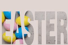 Happy Easter concept background.Easter eggs on table stock photos
