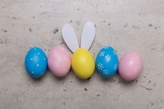 Happy Easter concept background.Easter eggs on table stock image