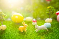 Happy Easter concept. Cute Little Easter Bunnys in the Meadow. Spring Flowers and Green Grass. Sunbeams. Fairy tale sunset on the Stock Photos