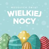 Happy Easter concept of greeting card in Polish