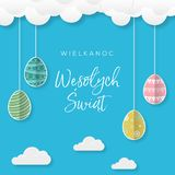Happy Easter, concept of greeting cards in Polish