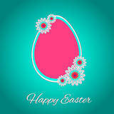 Happy Easter 3. Congratulation. Big pink egg on the blue background. Vector illustration Stock Photography