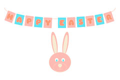 Happy Easter congratulation card. Pink and blue garland and rabbit symbol. Holiday vector illustration Royalty Free Stock Image