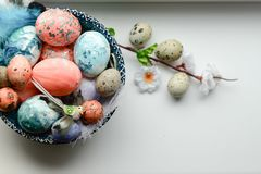 Happy Easter. Congratulatory easter background. Easter eggs and flowers royalty free stock photos