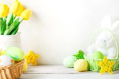 Happy Easter. Congratulatory easter background. Easter eggs and rabbit. royalty free stock photo