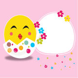 Happy easter cracked egg and smiling chick card vector. Background Royalty Free Stock Images