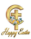 Happy Easter cross 3D graphic stock image
