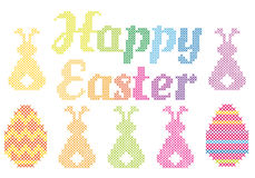 Happy Easter cross stitch, vector Stock Photo