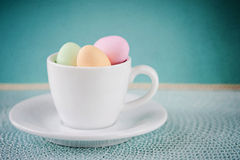 Happy Easter -  A cup of eastereggs Royalty Free Stock Image