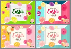Happy Easter Cute Background with Eggs. Collection Set of Cards. Vector Illustration. EPS10 Stock Images