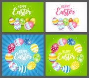 Happy Easter Cute Background with Eggs. Collection Set Cards. Vector Illustration. EPS10 Stock Photo