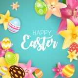 Happy Easter Cute Background with Eggs. Vector Illustration Stock Images