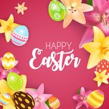 Happy Easter Cute Background with Eggs. Vector Illustration Royalty Free Stock Images
