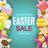 Happy Easter Cute Background with Eggs. Vector Illustration Royalty Free Stock Photos