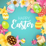 Happy Easter Cute Background with Eggs. Vector Illustration Stock Photography