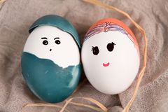 Happy easter, cute boy and girl organic easter eggs, easter holiday decorations, easter concept backgrounds Stock Photos