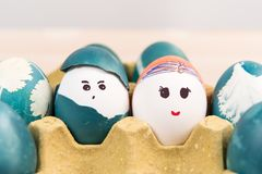 Happy easter, cute boy and girl organic easter eggs, easter holiday decorations, easter concept backgrounds Stock Images