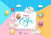 Happy Easter Cute Bunny and Egg Vector Poster. Spring Rabbit on Colorful Geometric Background. Religion Holiday Craft. Party Celebration Typography Flat Cartoon stock illustration