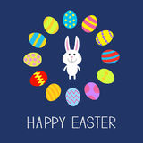 Happy Easter. Cute bunny rabbit. Round frame. Flat design. Stock Photos