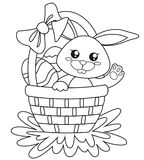 Happy Easter. Cute bunny sitting in basket with eggs. Black and white vector illustration for coloring book. Vector illustration Stock Photos