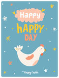 Happy Easter cute card in vector. Royalty Free Stock Photo