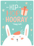 Happy Easter cute card in vector. Stock Photos