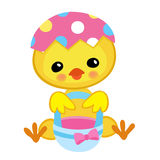 Happy Easter. Cute chick holding a basket. Royalty Free Stock Photos