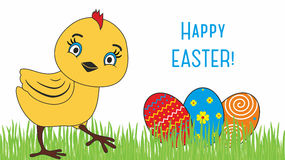 Happy Easter. Cute chicken cartoon Royalty Free Stock Image