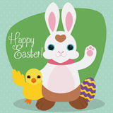 Happy Easter with Cute Chicken Celebrating the Easter Holiday, Vector Illustration Royalty Free Stock Images