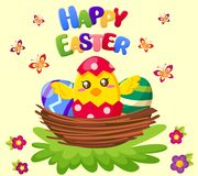 Happy Easter. Cute chicken sitting in nest with eggs. Vector illustration Stock Image