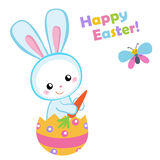 Happy Easter. Cute Easter bunny sitting in a egg. Royalty Free Stock Image