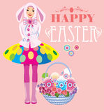 Happy easter, cute girl with basket of eggs. Vector illustration of happy easter, cute girl with basket of eggs Stock Photo