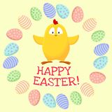 Happy Easter. Cute little yellow chicken in a wreath of easter eggs stock illustration