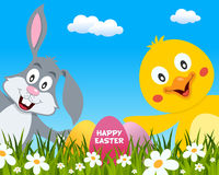 Happy Easter with Cute Rabbit and Chick Stock Images