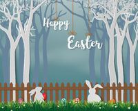 Happy Easter with cute rabbits and colorful eggs on paper art background,for holiday,celebration party or greeting card stock image