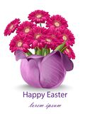 Happy Easter Daisy Flowers Bouquet Card. Spring Floral Beauty Fuchsia Colors Royalty Free Stock Images