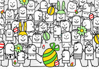 Happy Easter day. Hand drawn cartoon greeting card - happy Easter day Stock Photography