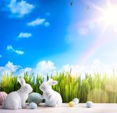 Art Happy Easter Day; Easter bunny and Easter eggs Royalty Free Stock Image