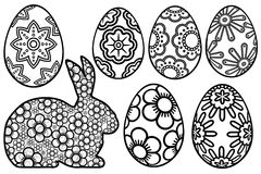 Happy Easter Day Bunny Floral Eggs. Paper Cutout Illustration royalty free illustration