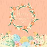 Happy Easter day card with eggs and flowers pink bacgrounds stock illustration