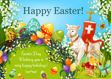 Happy Easter Day cartoon greeting poster design Stock Photos