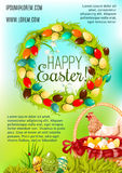 Happy Easter Day cartoon poster design. Happy Easter Day cartoon poster. Easter egg hunt basket on green grass, chicken and spring floral wreath with white lily Stock Photography