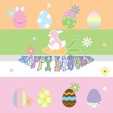 Happy easter day with colorful eggs stock illustration