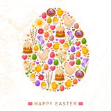 Happy Easter Day Concept with Flat Lovely Icons Stock Image